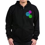 Glowing colorful Peace Signs Zip Hoodie (dark)
