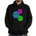 Glowing colorful Peace Signs Hoodie (dark)