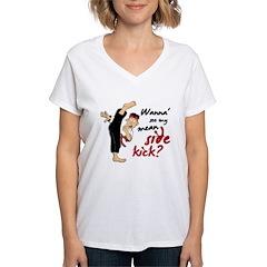 Funny Kicking Man 2 Women's V-Neck T-Shirt