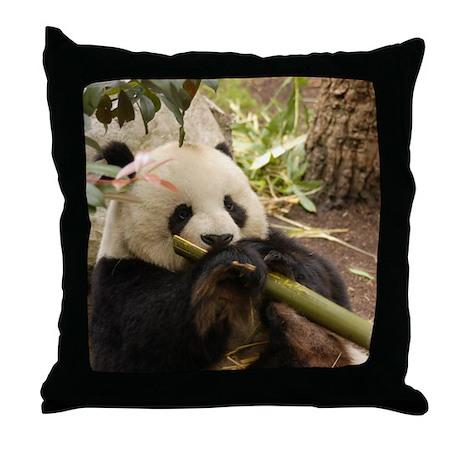 Giant Panda Bear Throw Pillow by 001122