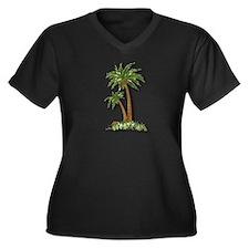 Twin palms Women's Plus Size V-Neck Dark T-Shirt
