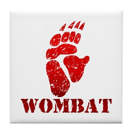 Red Wombat Footprint Tile Coaster