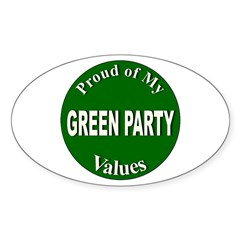 Proud Green Party Values Oval Decal