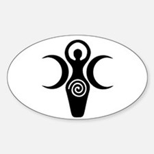 Goddess Crescent Moons Oval Decal