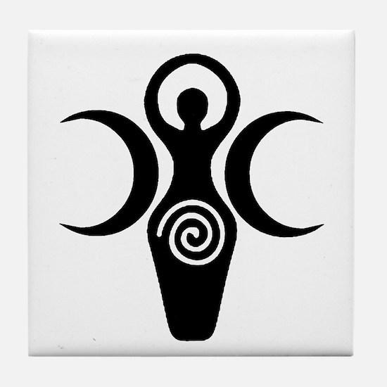Goddess Crescent Moons Tile Coaster