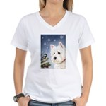 WESTIE WINTER WONDERS Women's V-Neck T-Shirt