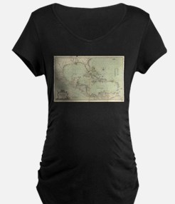 Vintage Map of The Caribbean (17 Maternity T-Shirt