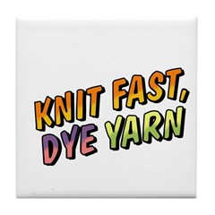 Knit Fast, Dye Yarn Tile Coaster