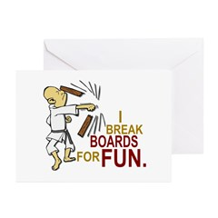 Funny Man Breaking Board 3 Greeting Cards (Pk of 1
