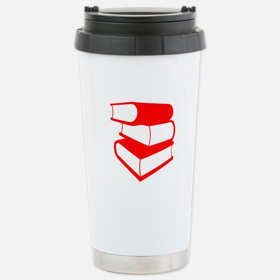 Stack Of Red Books Stainless Steel Travel Mug