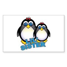 Lil' Sister Penguins Rectangle Decal