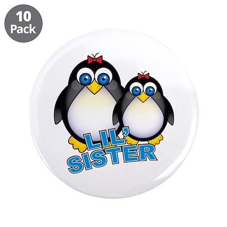 "Lil' Sister Penguins 3.5"" Button (10 pack)"
