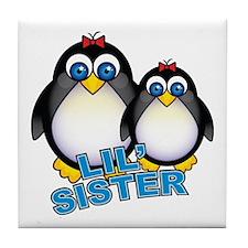Lil' Sister Penguins Tile Coaster