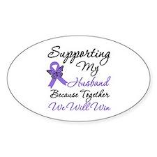 Hodgkin's Support Husband Oval Sticker (10 pk)