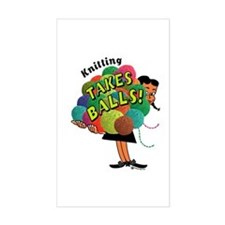 Knitting Takes Balls Rectangle Decal