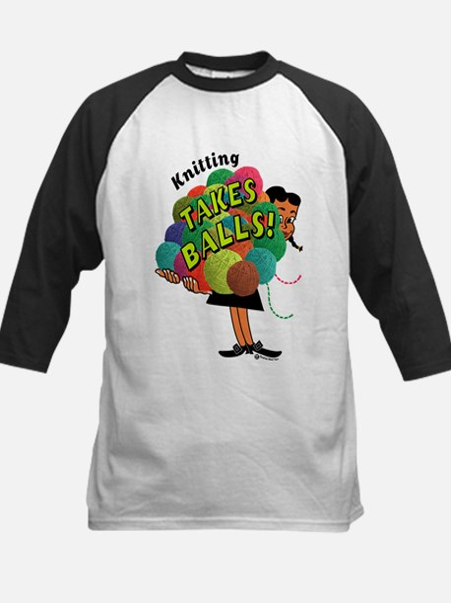 Knitting Takes Balls Kids Baseball Jersey