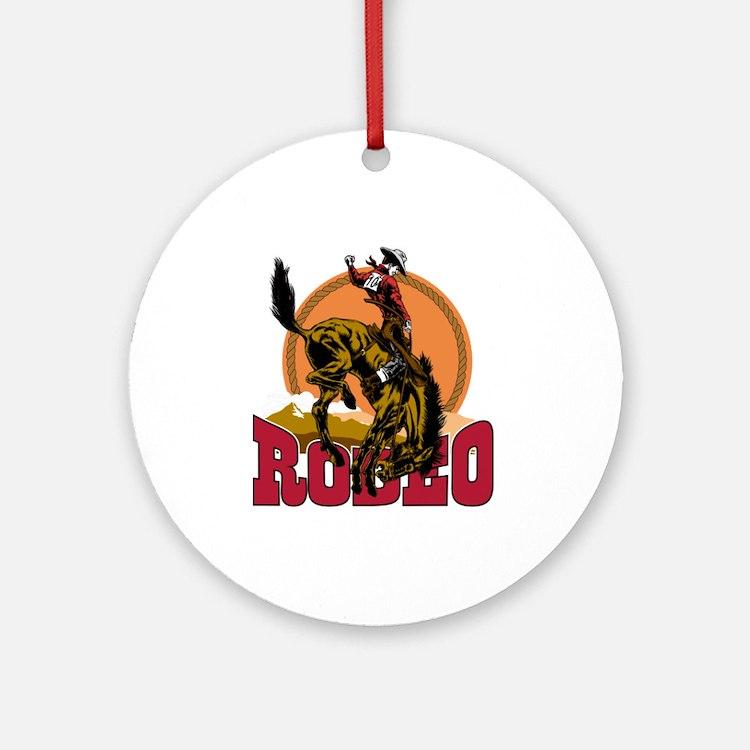 Rodeo Bronco Ornament (Round)