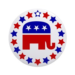Classic GOP Elephant Ornament (Round)