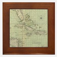 Vintage Map of The Caribbean (1774) Framed Tile