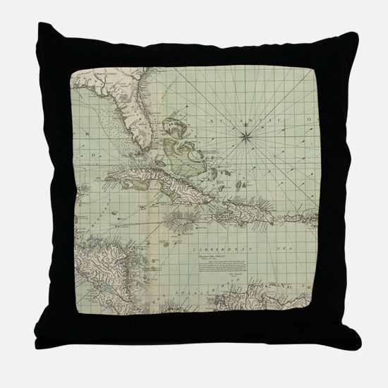 Vintage Map of The Caribbean (1774) Throw Pillow