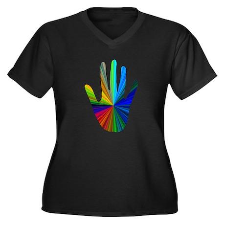 Healing Hand Women's Plus Size V-Neck Dark T-Shirt