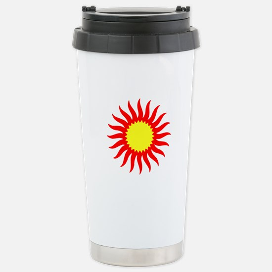 Red And Yellow Sunburst Stainless Steel Travel Mug
