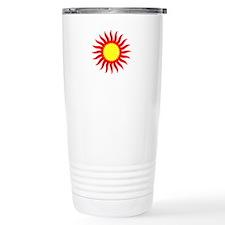 Red And Yellow Sunburst Travel Mug