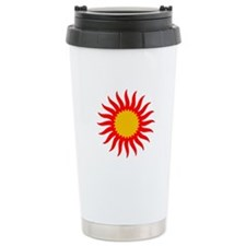 Red And Gold Sunburst Travel Mug
