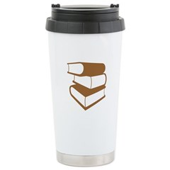 Stack Of Brown Books Stainless Steel Travel Mug