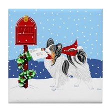 Christmas Papillon Mail Tri Tile Coaster