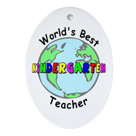 Best Kindergarten Teacher Oval Ornament