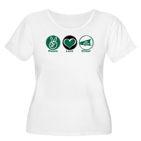 Peace Love Cheer Green Women's Plus Size Scoop Nec