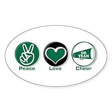 Peace Love Cheer Green Decal
