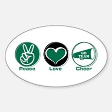 Peace Love Cheer Green Decal