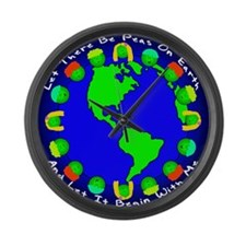 Let There Be Peas On Earth... Large Wall Clock