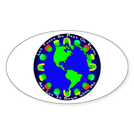 Let There Be Peas On Earth... Oval Sticker