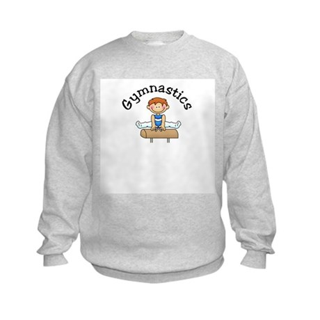 Red Head Gymnast Boy Kids Sweatshirt