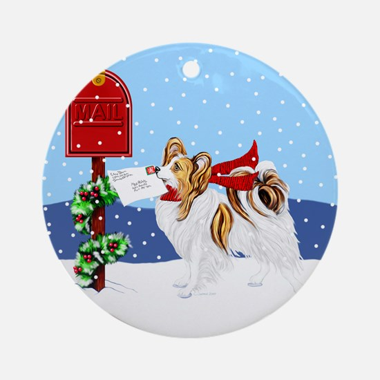 Christmas Papillon Mail Sable Ornament (Round)
