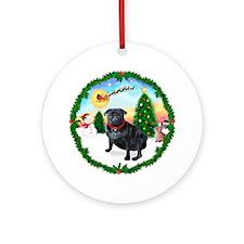 Santas Take Off / Black Pug Ornament