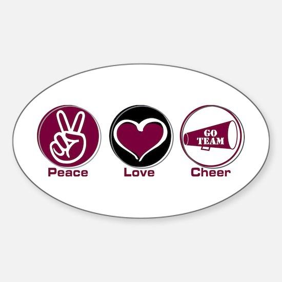 Peace Love Cheer Marroon Sticker (Oval)