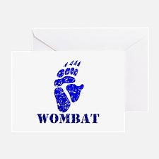 Blue Wombat Footprint Greeting Card