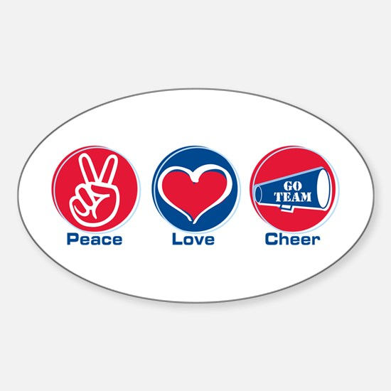 Peace Love Cheer Rd/bl Sticker (Oval)