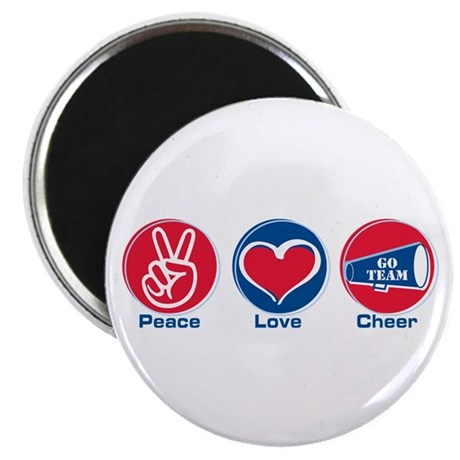 """Peace Love Cheer Rd/bl 2.25"""" Magnet (10 pack)"""