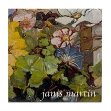 Cosmos and Morning Glories Tile Coaster