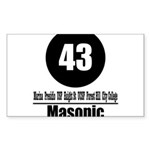 43 Masonic (Classic) Rectangle Sticker