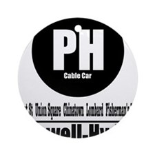 PH Powell-Hyde Cable Car (Cla Ornament (Round)
