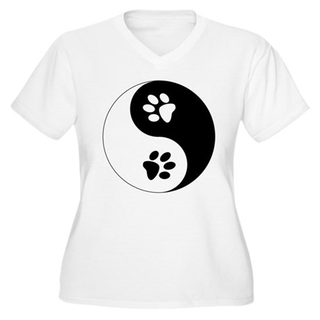 Yin Yang Paws Women's Plus Size V-Neck T-Shirt