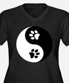 Yin Yang Paw Women's Plus Size V-Neck Dark T-Shirt