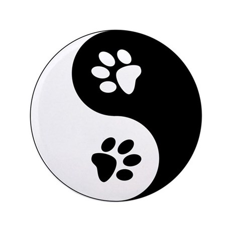 "Yin Yang Paws 3.5"" Button (100 pack)"