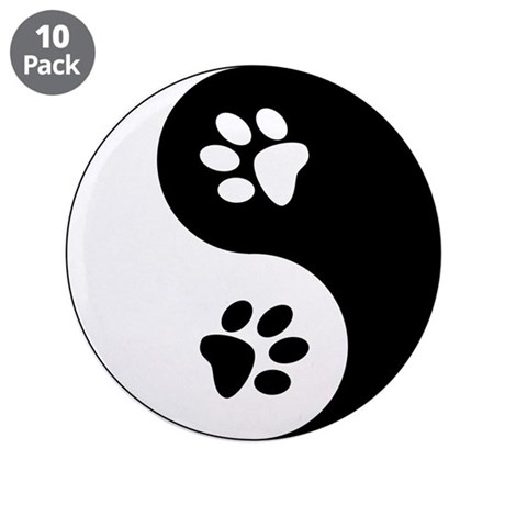 "Yin Yang Paws 3.5"" Button (10 pack)"